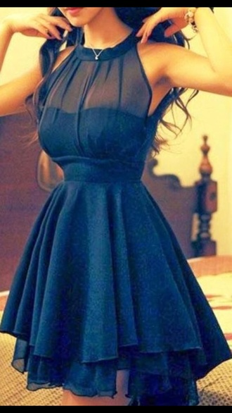 blue dress blue navy skater dress mesh dress