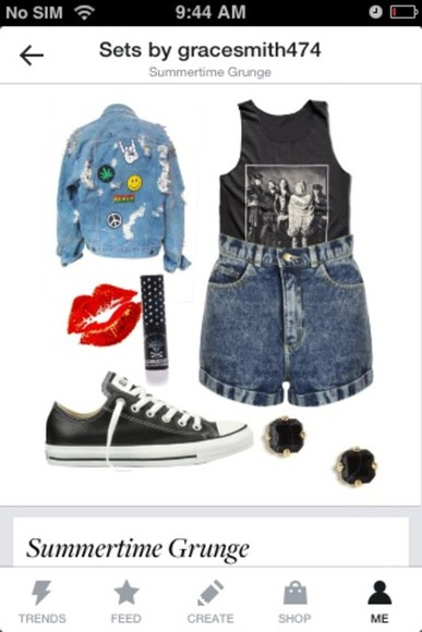 nirvana jacket grunge bands black pants denim shorts highwaisted shorts polyvore converse ripped