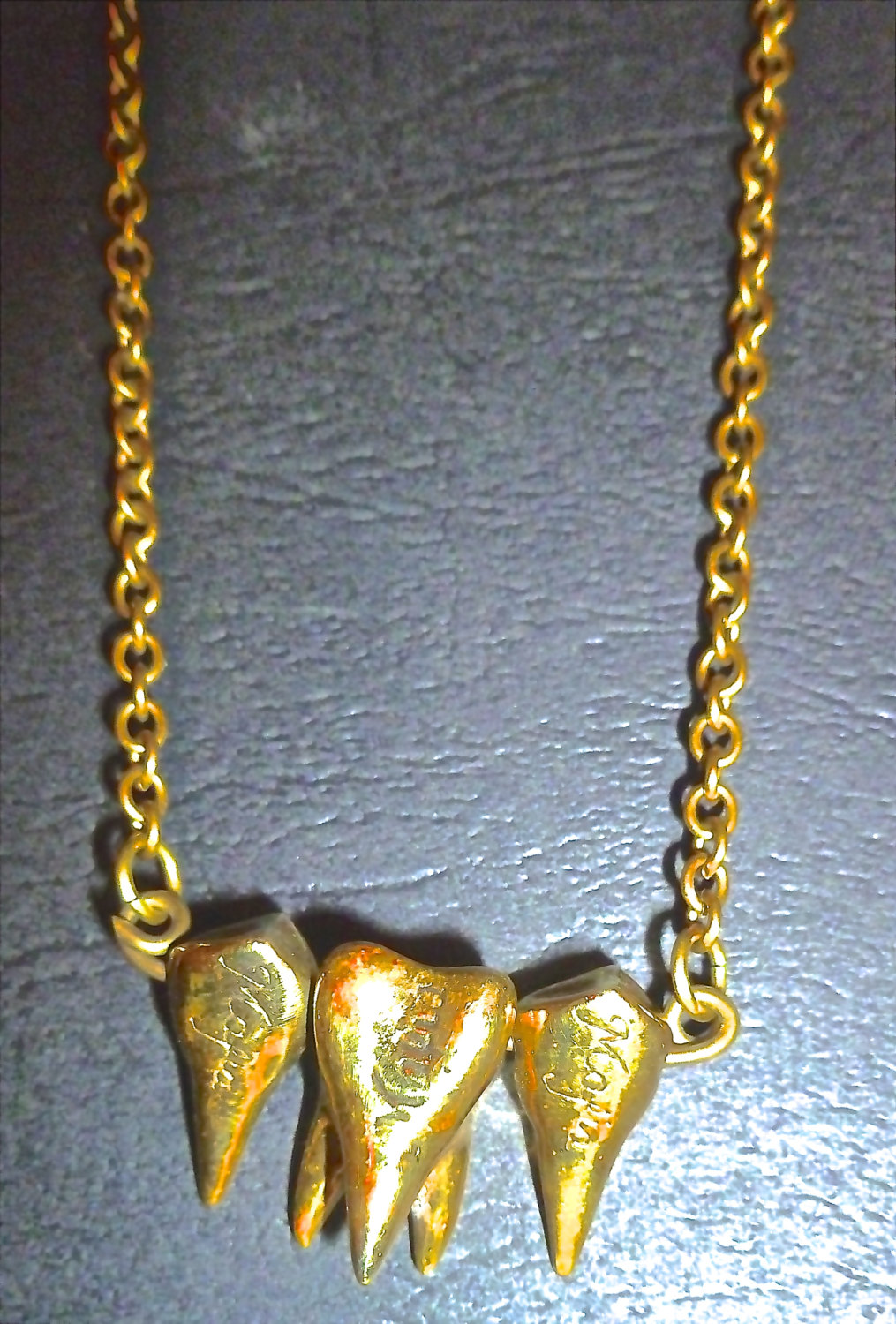Mafia design tooth necklace brass