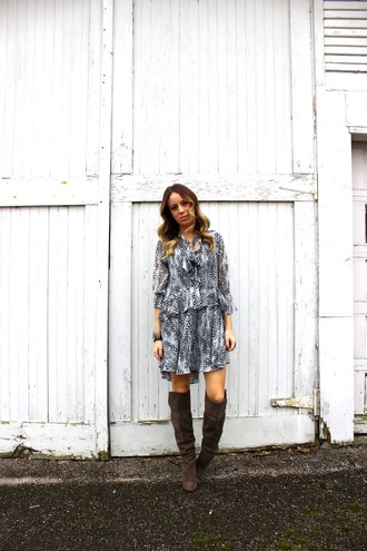 the whiskey wolf blogger dress print knee high boots