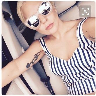 dress stripes romper bodysuit lady gaga