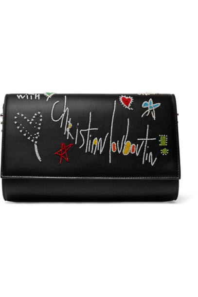 christian louboutin leather clutch embellished clutch leather black bag