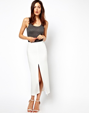 ASOS | ASOS Skirt With Split Front and PU Waistband at ASOS