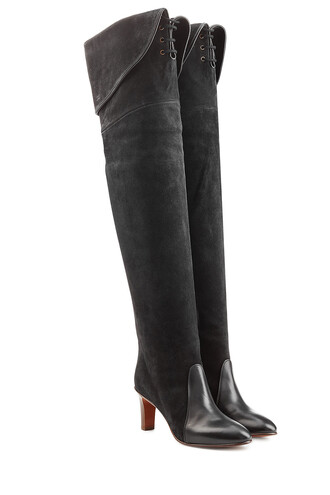 over the knee boots leather suede grey shoes