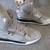 Women Nike Jordan Flight 45 High Sport Shoes Metallic Silver and Gold Grey