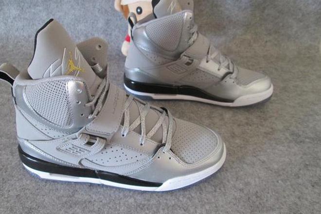 Women Nike Jordan Flight 45 High Sport Shoes Metallic Silver and Gold Grey