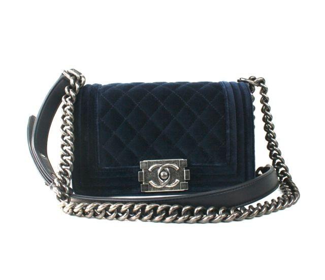 ac4bfeb686bc Chanel Blue Velvet Boy Shoulder Bag | Portero Luxury