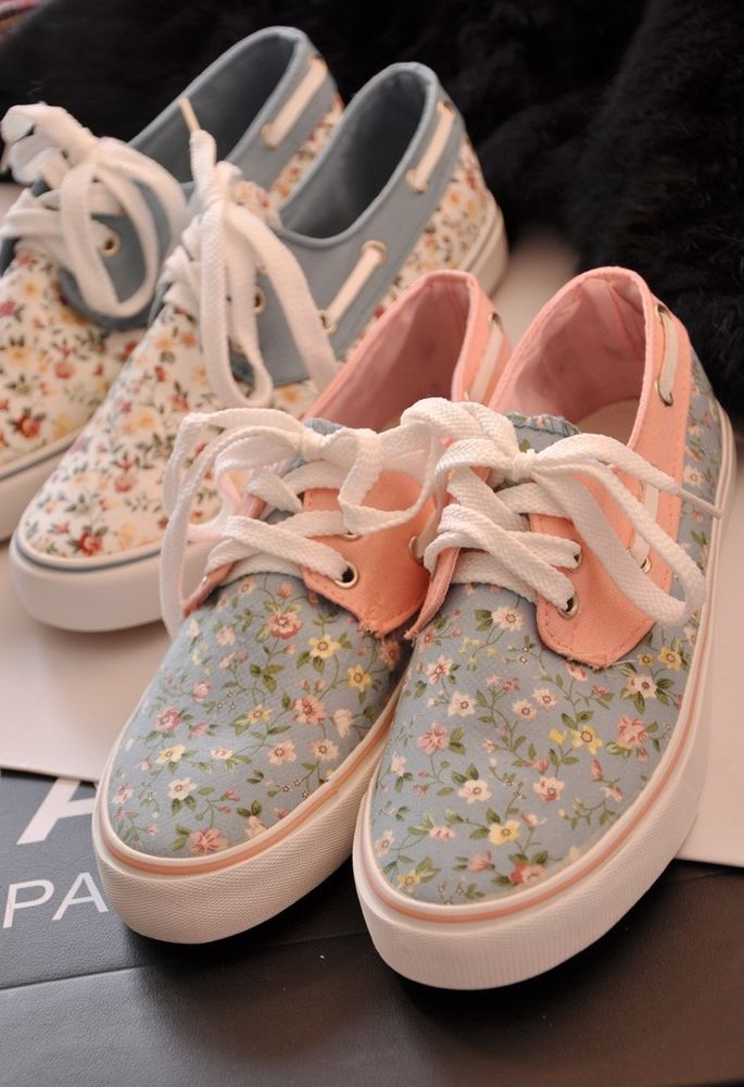Women's Floral RIA Canvas Shoes Boat Sneakers Girl's Lace Up Flats 5 6 6 5 7 5 8 | eBay
