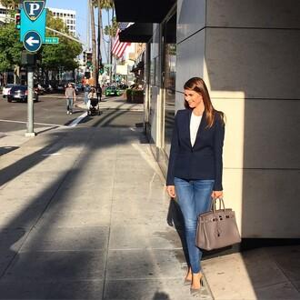 jeans shiva safai celebrity blue jeans blazer bag handbag grey bag hermes hermes bag white top spring outfits pointed toe pumps pumps