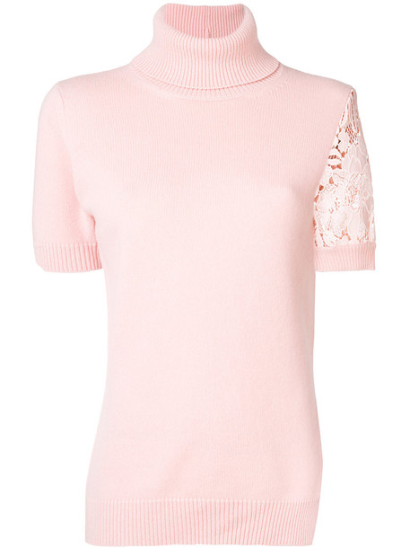 No21 - embroidered short sleeve jumper - women - Polyester/Virgin Wool - 42, Pink/Purple, Polyester/Virgin Wool