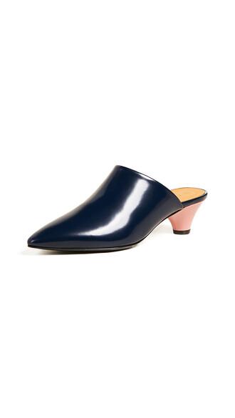 mules blue shoes