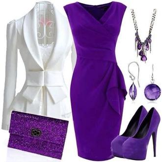jacket white jacket classy dress wrap dress purple dress bag shoes
