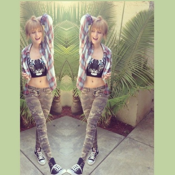 jeans bella thorne shirt plaid camouflage