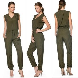 jumpsuit oliive camouflage jumper sleeveless trendyish
