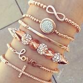 jewels,jewelry,bracelets,stacked bracelets,rose gold,bling