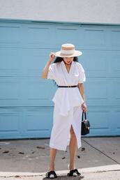 hallie daily,blogger,dress,hat,bag,shoes,belt,summer outfits,white dress,summer dress,sun hat