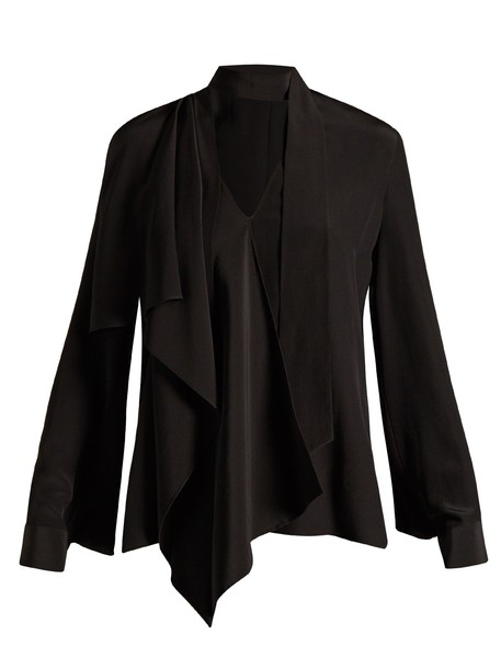 Fendi blouse draped silk black top
