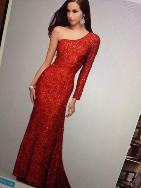Dress: red, long sleeves, sparkle, gown, prom dress, long, long ...