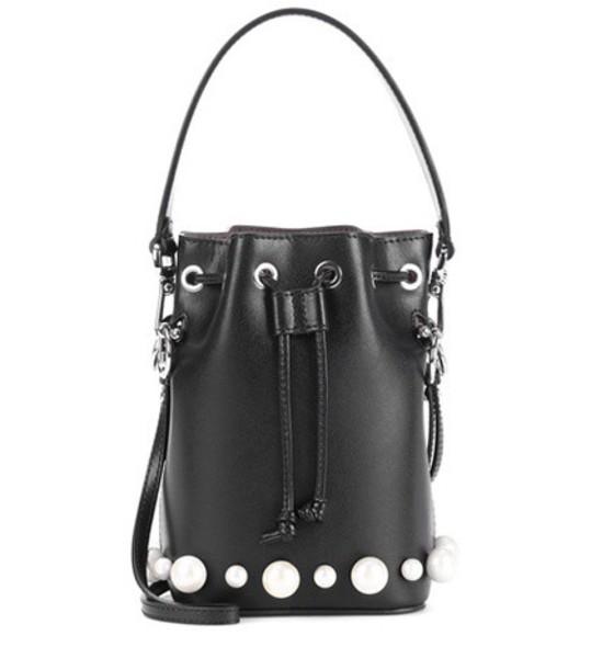 Fendi bag bucket bag leather black