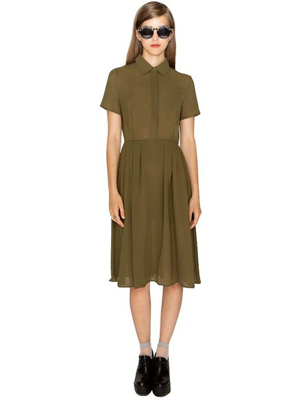 khaki fall outfits transitional pieces olive dress peter pan collar fall trends prefall cute dress pixie market pixie market girl