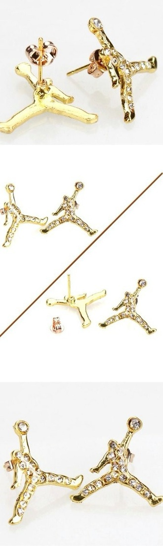 jewels jordans gold crystal earrings