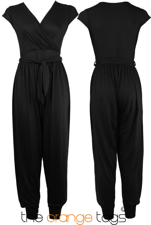 dress celeb cap ladies hareem jumpsuit romper trouser sexy lovely black wrap sleeve harem