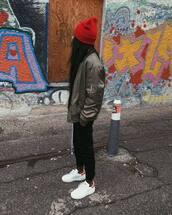 jacket,tumblr,army green jacket,bomber jacket,green bomber jacket,khaki bomber jacket,pants,black pants,black sweatpants,sweatpants,athleisure,sneakers,white sneakers,low top sneakers,beanie,leggings