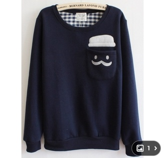 dark blue sweater moustache pocket wheretofindit cute