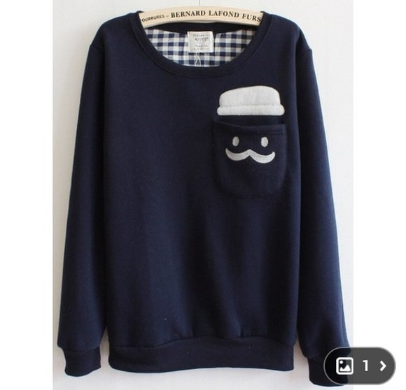 sweater mustache dark blue pocket wheretofindit cute
