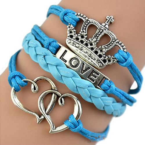 [grxjy51201242]Vintage Crown Dual Hearts Pendant Love Engraved Woven Bracelet