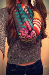 scarf,pink,zig zag print,lilac,purple,red,grey,blue,torquise,white,black,stripes