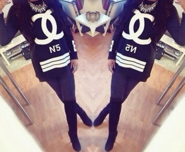 shirt chanel black white chanel no. 5 chic vogue chunky statement necklace  black boots 9a21f0c9b9e