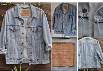 jacket blue vintage jeans oversized hipster denim jacket