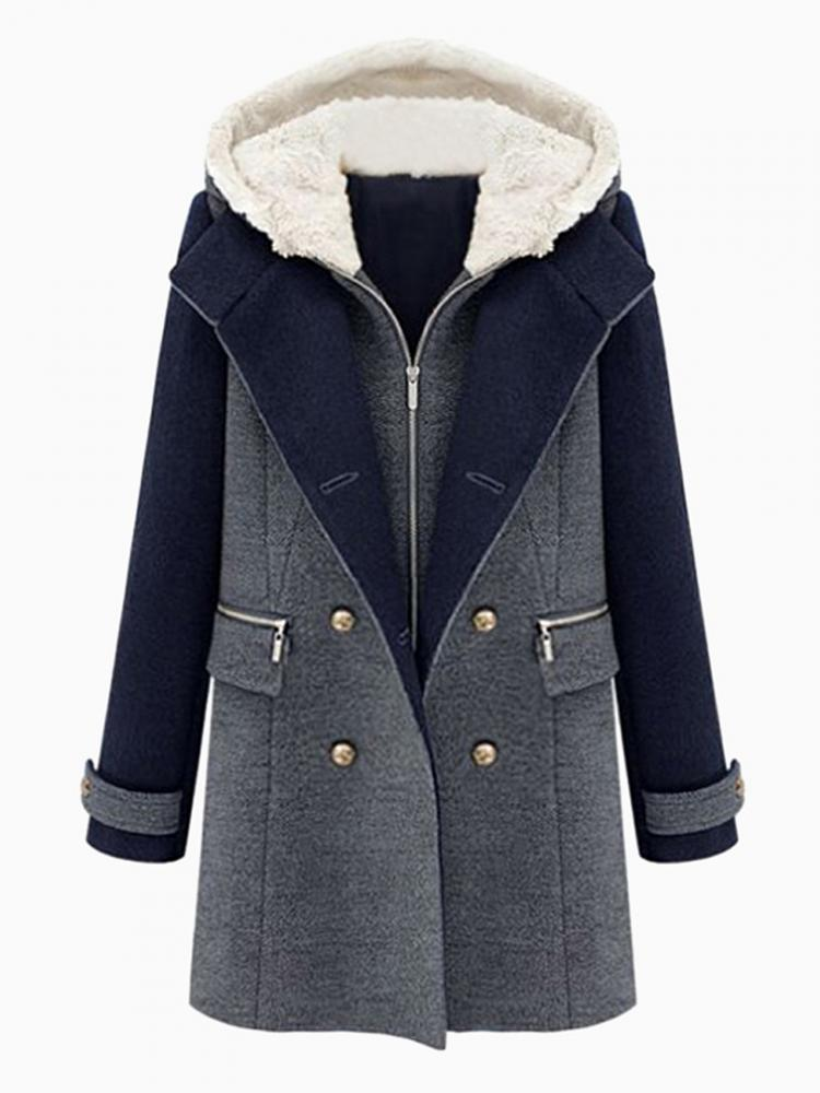 Padded Coat With Detachable Shearling Hood | Choies