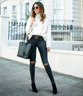 jeans,skinny jeans,black jeans,ripped jeans,acid washed skinny jeans,suede boots,sock boots,belt,turtleneck sweater,knitted sweater,sunglasses,handbag