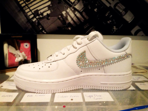 shoes cute clothes tumblr nice trendy series brands nike nikes nike air force nike air white holes celebrity style customized custom made custom shoes crystal swarovski nike air force 1 nike air force nike air force 1 silver wholesale