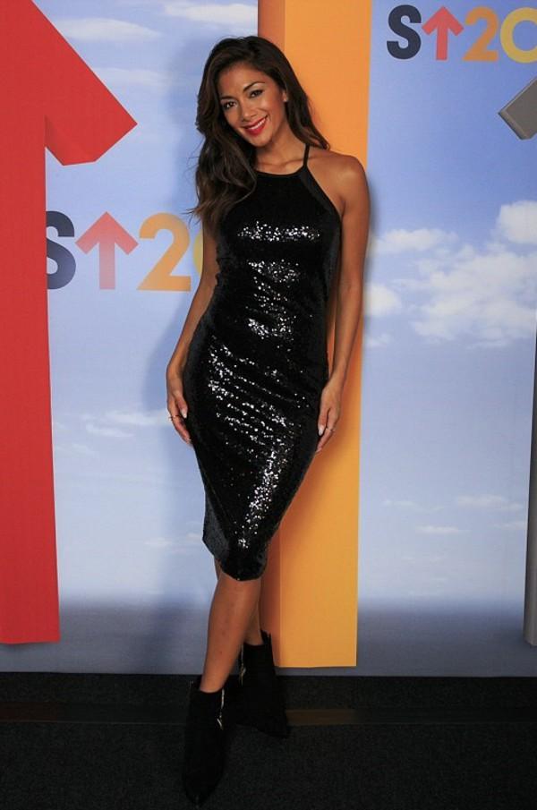 dress black sparkle nicole scherzinger