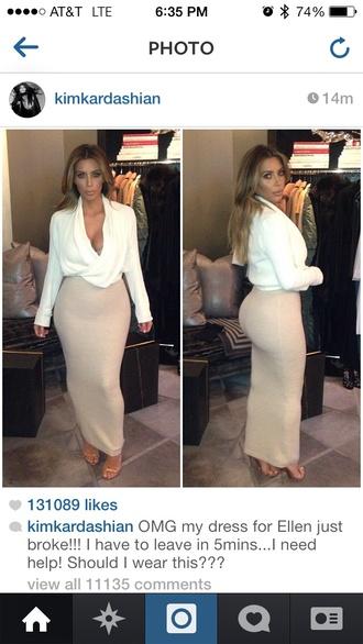 skirt kim kardashian blouse v plunge cashmere white sweater long sleeves