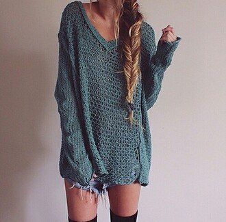 sweater grey sweater green pullovers pullover hoodie oversized sweater