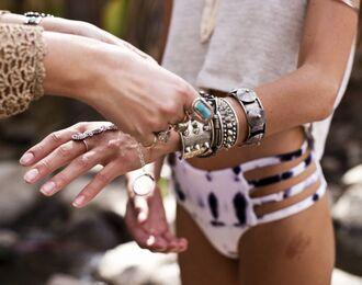 swimwear bikini bottoms tie dye tie dye swimwear string bikini bracelets jewels
