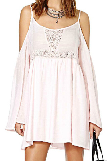 Strapped Cut-out Shoulder Lace Pleated Light-pink Dress | Pariscoming
