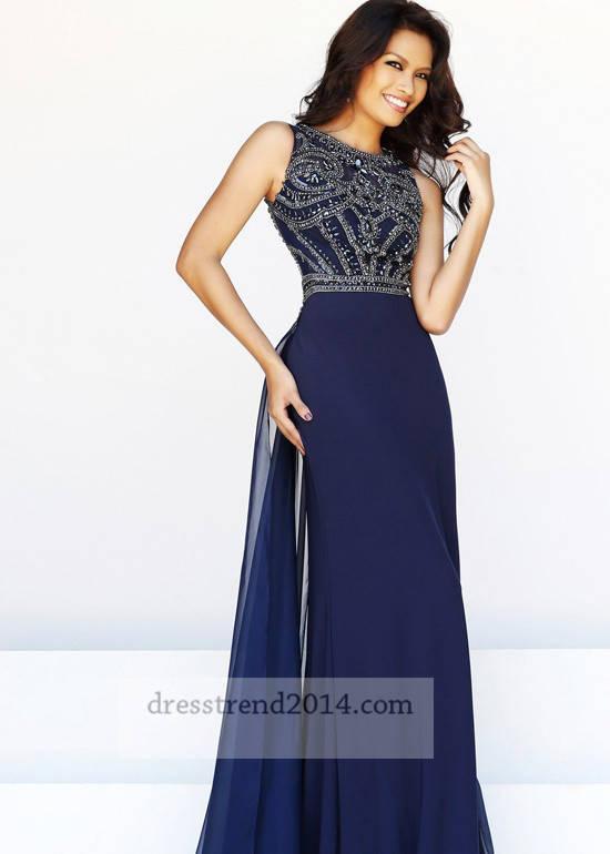 Navy long jeweled beaded sleeveless prom dress [long navy prom dress]