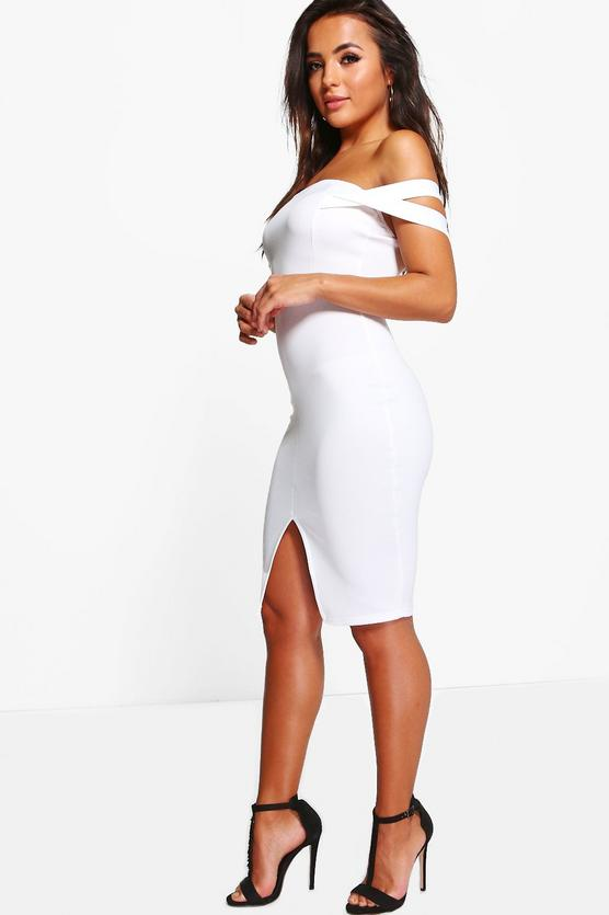 Petite Zoe Off The Shoulder Detail Midi Dress | Boohoo