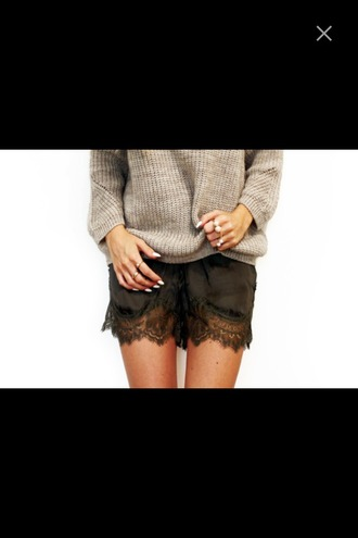 shorts sweater grey sweater cozy cozy sweater oversized sweater lace lace shorts fancy shorts party elegant black lace shorts