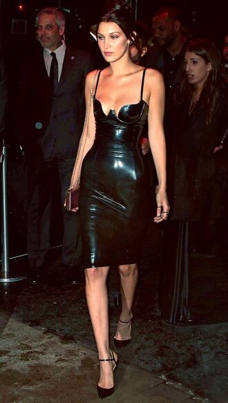 dress bella hadid model celebrity style celebrity bodycon dress black dress sexy dress clubwear club dress latex dress leather dress sandals black sandals clutch