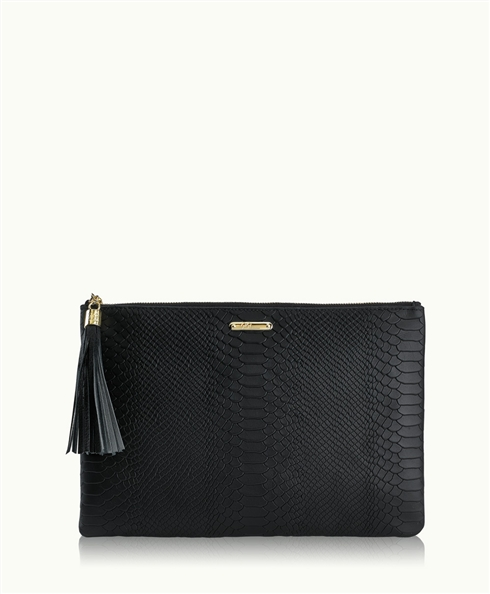 Black Uber Clutch | Embossed Python Leather | GiGi New York