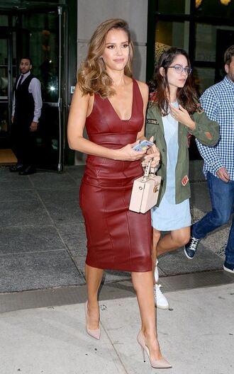 dress midi dress leather dress pumps purse plunge dress jessica alba bag