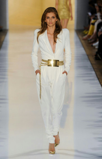Pants: white jumpsuit, gold belt, white pants - Wheretoget