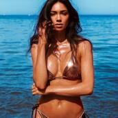 swimwear,metallic swimsuit,metallic bikini,metallic,bikini,bikini top,bikini bottoms