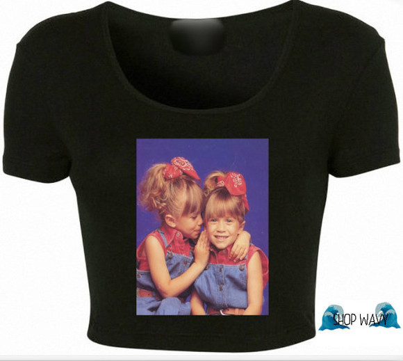 tv show michelle tanner twins graphic wavy crop mary kate and ashley full house graphic tee